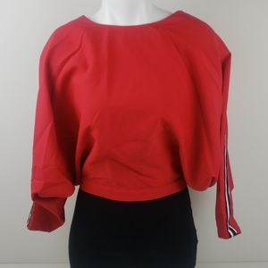 essue red cropped top open back blouse size small